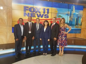 Fox newscasters with Kent Taylor