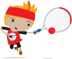 Boy with a red head band playing tennis with a red ball