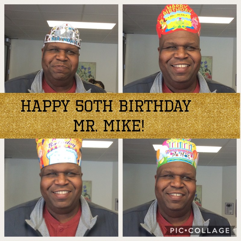 Mike wearing 4 crowns for his birthday.