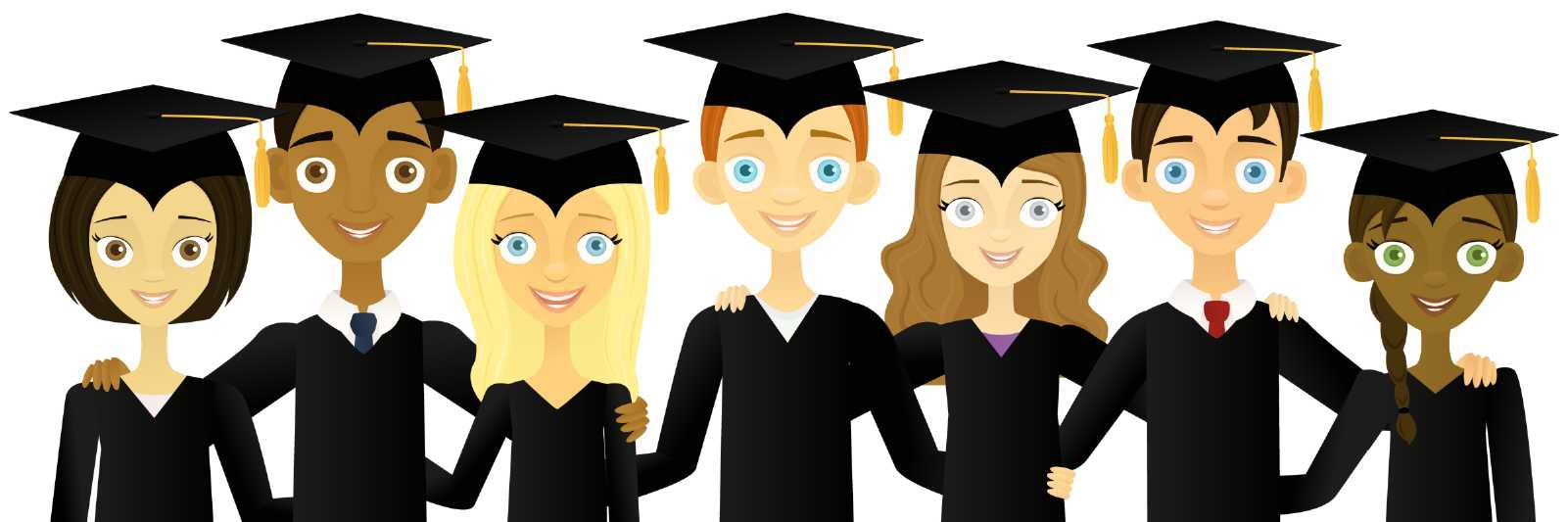Image showing students in cap and gown