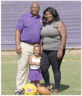 Linebackers Coach- Julius Dulaney, wife Kelsey, daughter Spenser