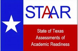 Texas flag with STAAR EOC logo (State of Texas Assessments of Academic Readiness)
