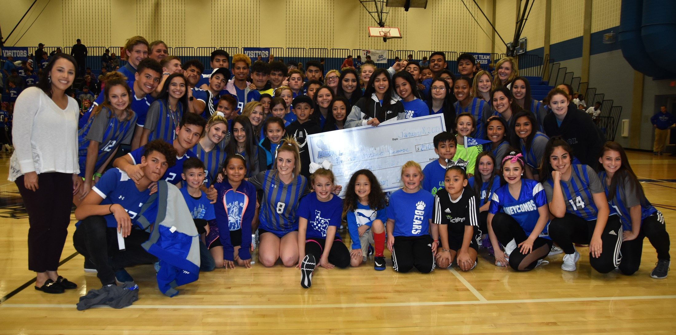 The Foundation awarded $250 to Brewer Middle School for winning the Soccer Kick Contest at the Winter Sports Rally on Jan. 8, 2018.
