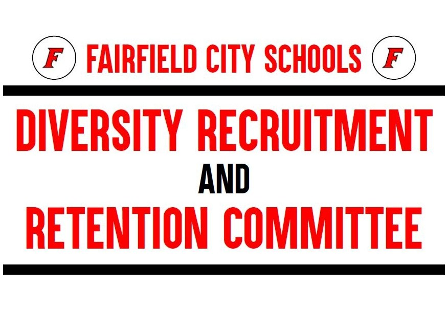 Image of the Diversity Recruitment and Retention Committee Banner, which has the name in red lettering the Fairfield F