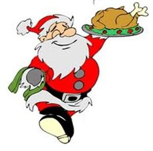 Santa holding a turkey tray