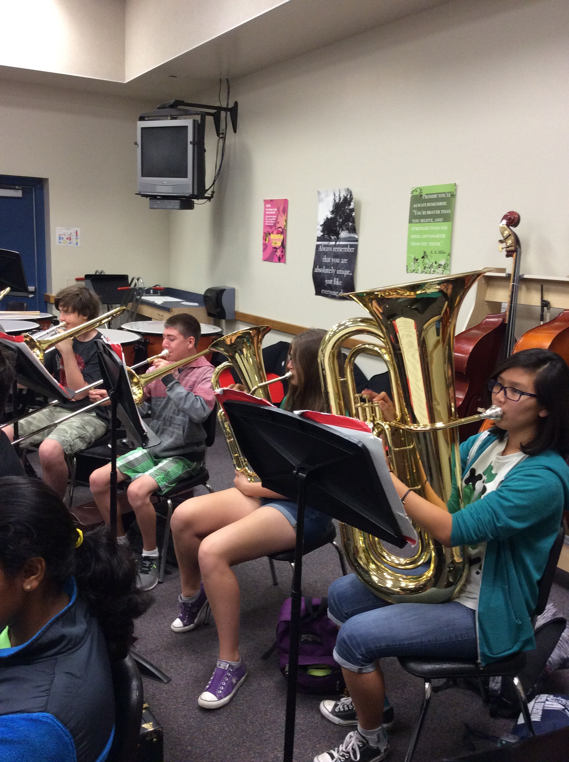 Students playing their Brass Instruments in class