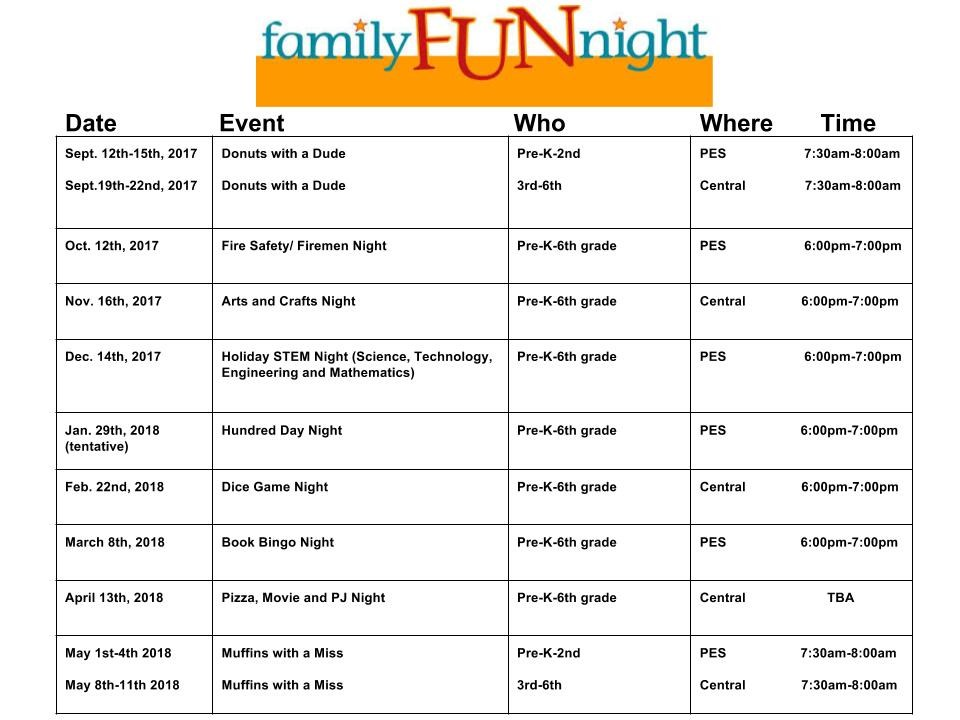 Family Fun Night Schedule