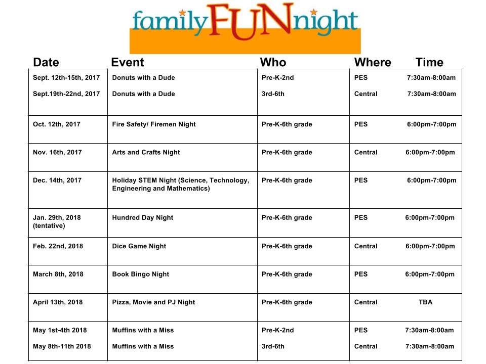Family Fun Night Schedule