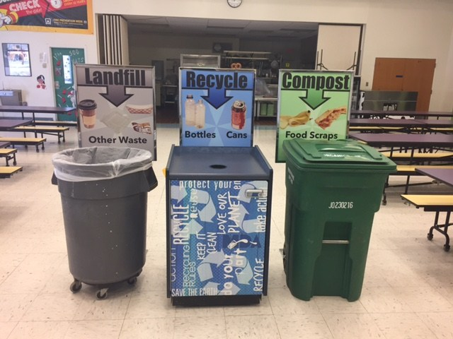 Example of trash, recycle, and compost collection