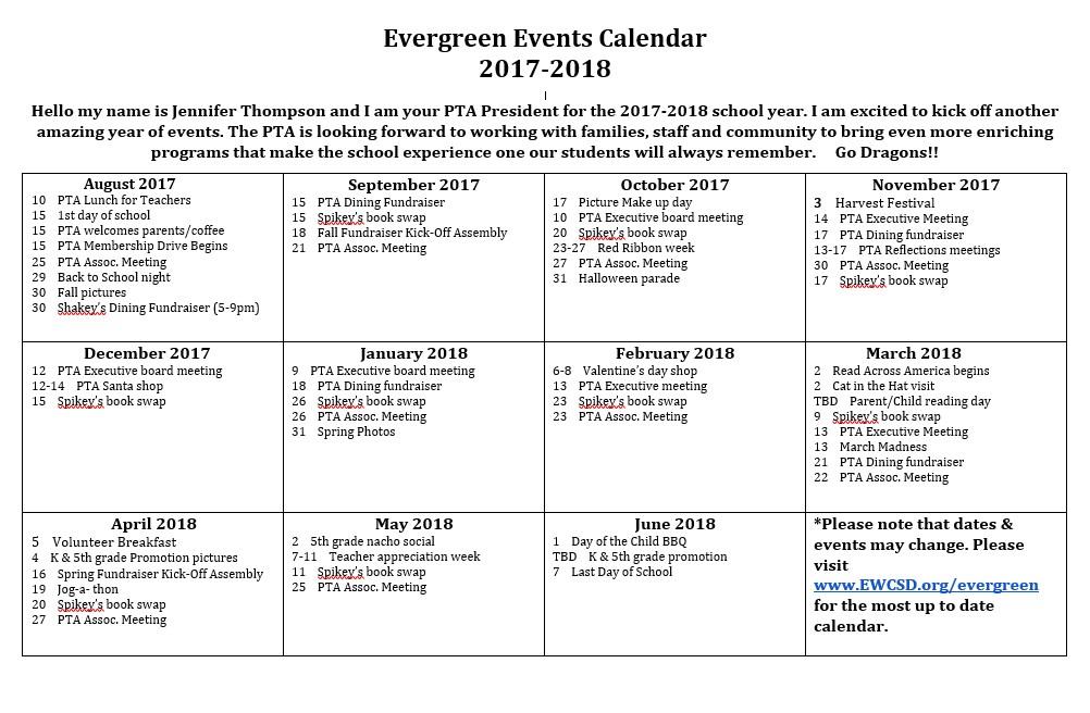 PTA Event Calendar 17-18