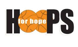 Logo For Hoops for Hope. The word Hoops. The letter O is two basketballs with the words