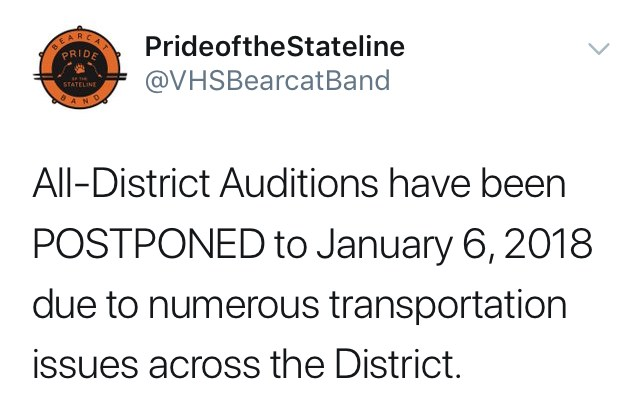 All-District Band Auditions postponed