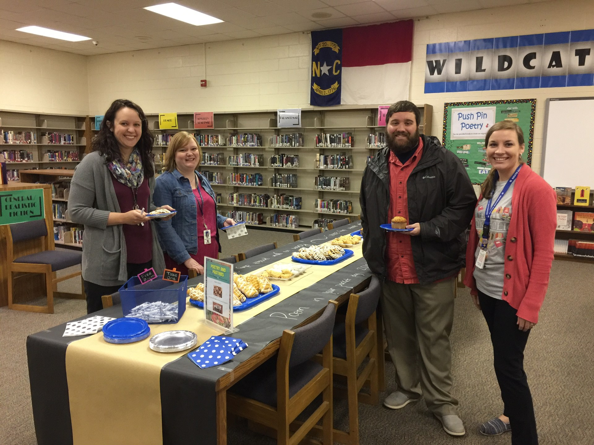Poems and Pastries for staff at South Davidson Media Center for National Poetry Month (April).