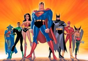 Cartoon image of superheroes: Superman, wonderwoman, batman, flash