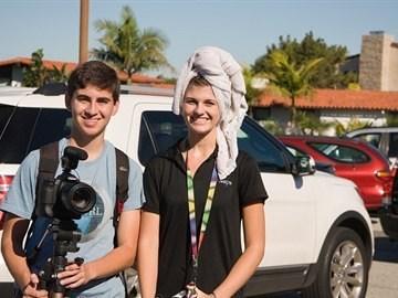 PVHS AVID students pose at car wash