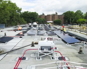 View of several installed solar panels