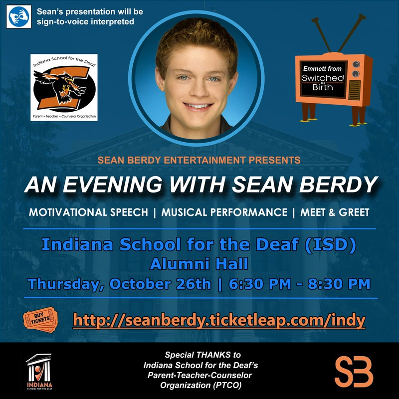 Flyer advertisement for evening with Sean Berdy