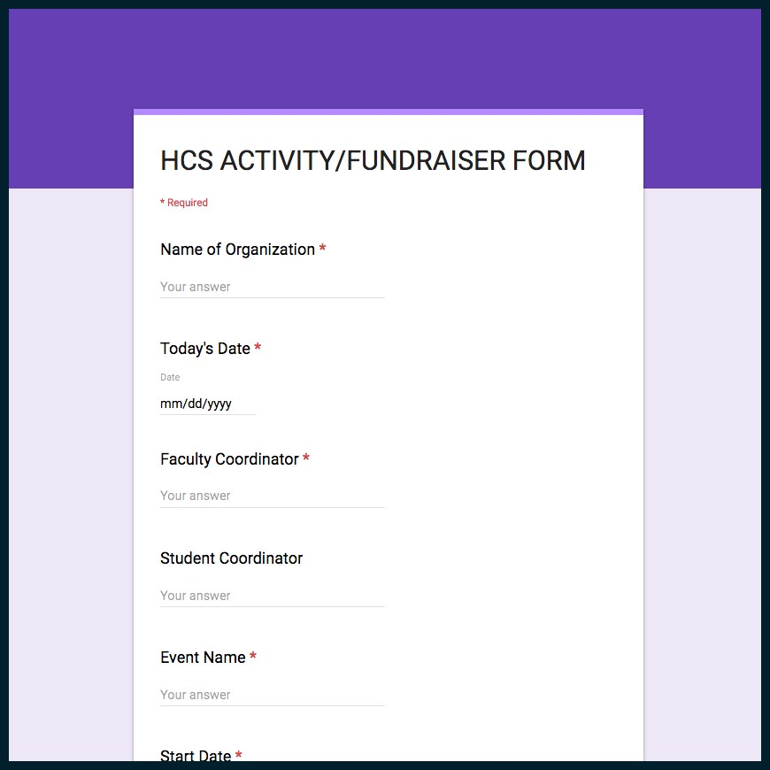 Activity/Fundraiser Form