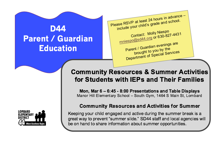 Community Resources & Summer Activities for IEP Students Thumbnail Image