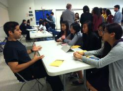 Phlebotomist Andrew Carrasco shares his experiences working in the medical field with Medical Careers Academy students.