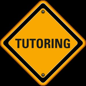 Yellow sign that states tutoring.