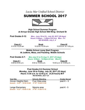 2017 Summer School Schedule