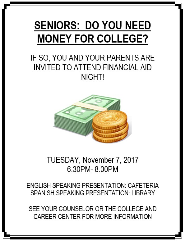 Financial Aid Night- November 7, 2017 Thumbnail Image