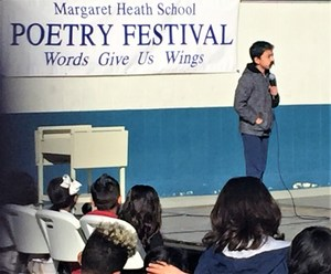 """Margaret Health Elementary School sixth-grader Caleb Ramirez has been a winner in the school's annual Poetry Festival for a but one of his years at the school. His trademark is funny poems, such as this year's rendition of """"Pedro, the Paranoid Piranha."""""""