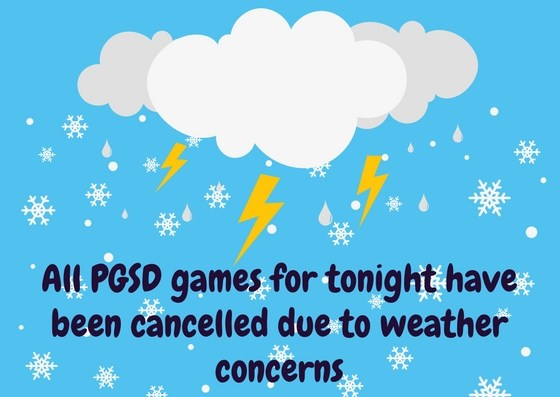 All PGSD Athletic Games Cancelled for Tonight, January 16