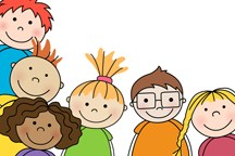 Cartoon image of a diverse group of young children