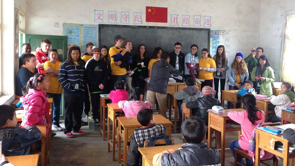 Sandia Prep students speaking to a foreign classroom