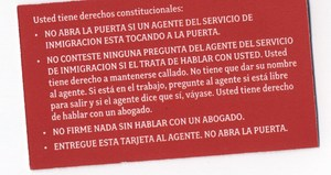 know your rights spanish card