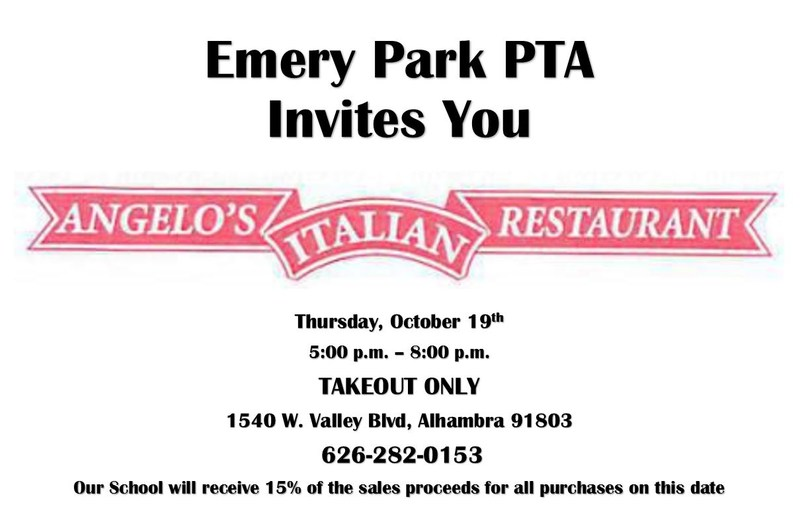 COME EAT AT ANGELO'S ON OCTOBER 19TH, AND RAISE MONEY FOR EMERY PARK! Thumbnail Image