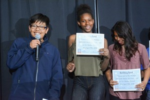 Bernardo Sanchez, Kyiah Morgan, and Niylla Millinchamp accepting their awards.JPG