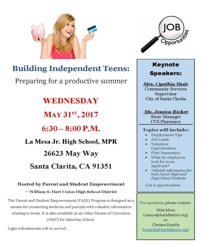 Flyer for Independent Teens by PASE