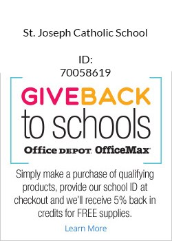 Use # 70058619 and OFFICE DEPOT will donate 5% back to SJCS for supplies