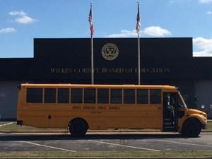 School Bus outside Wilkes County Board of Education