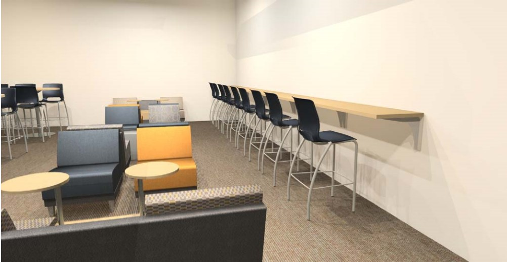 A picture of high top chairs against the wall with a table to write on and comfortable chairs with tables to sit and work in the new Tutoring Center.