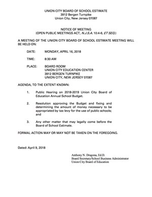 board of school estimate april 16, 2018 meeting announcement