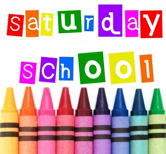 A photo of crayons announcing Saturday school