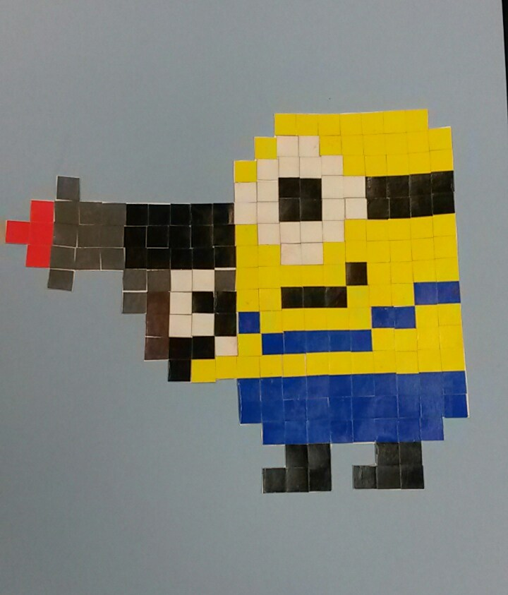 student artwork- pixel art of a minion using paper squares