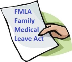 Hand with paper with FMLA typed on it