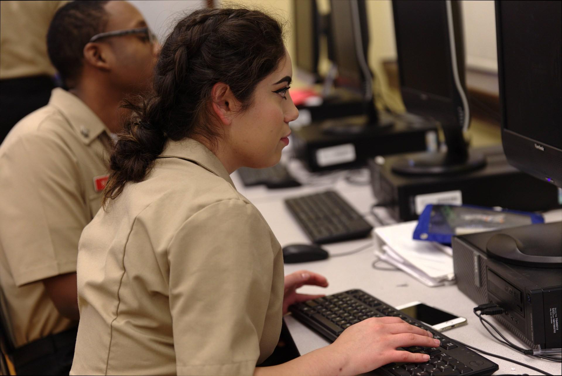 Cadets working on the computer lab