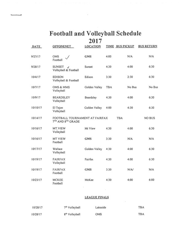 GMS Football and Volleyball Schedule (2017) Thumbnail Image