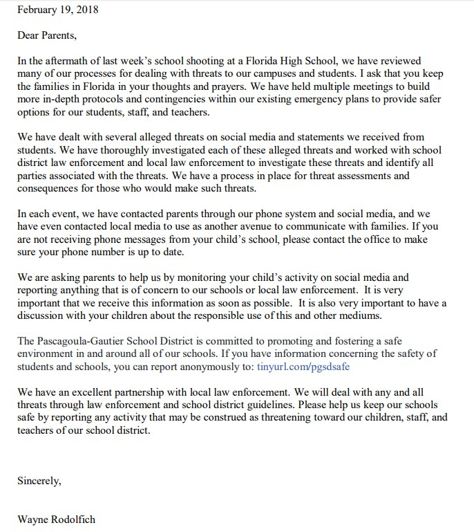 Picture of letter from Superintendent