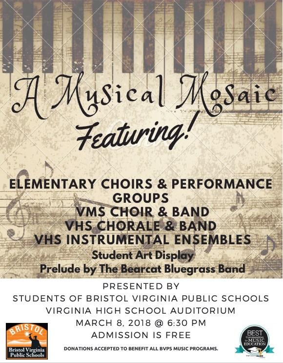 March 8:  Musical Mosaic 6:00 pm
