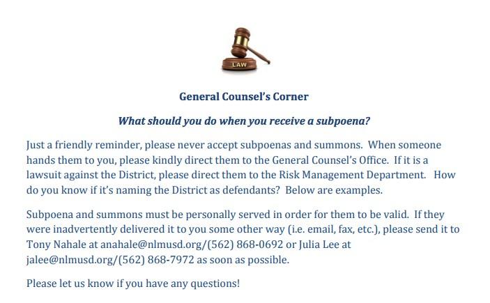 General Counsel corner