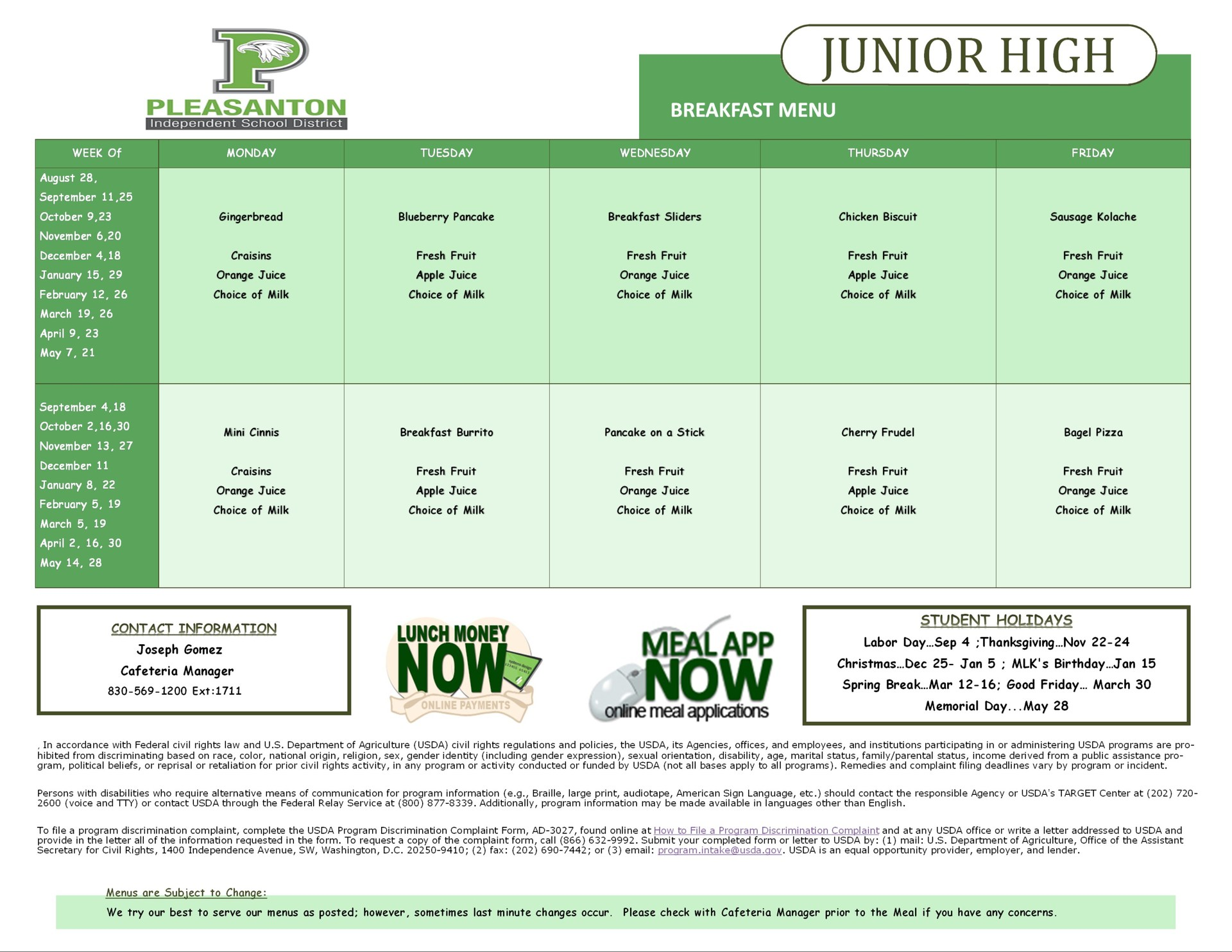Junior high breakfast menu