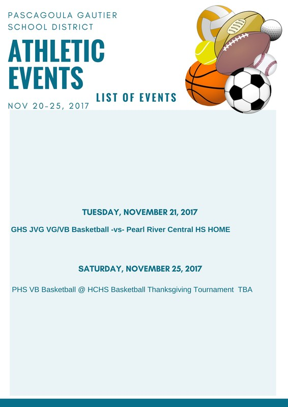 Athletic Events for Week of November 20, 2017