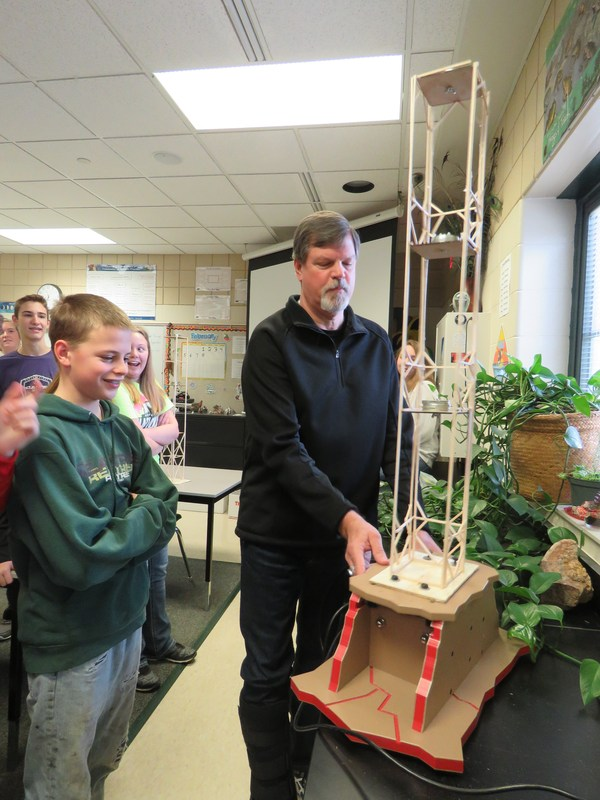 TKMS students put their engineering projects to the test on an earthquake simulator.